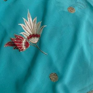 Teal chiffon saree (the color is off in the pic)